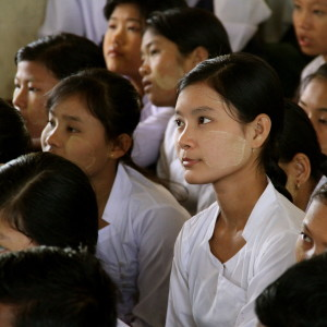 Burmese schoolgirls in a classroom