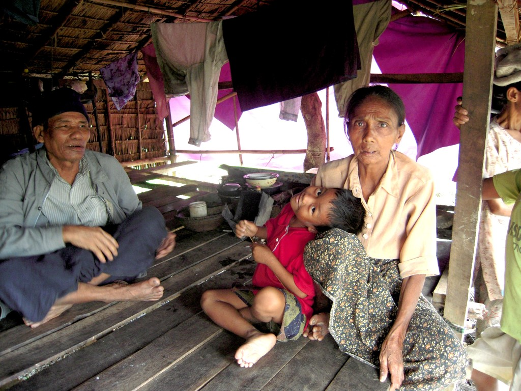 A poor family in a Burmese house