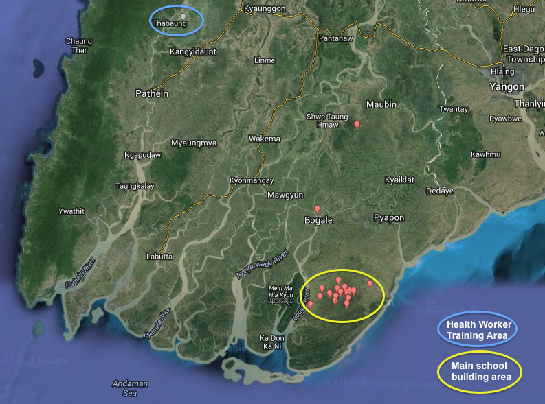 A map of charity projects run by Helping the Burmese Delta in Burma
