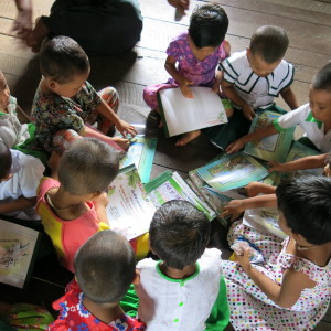 A group of children in a primary school class in Burma